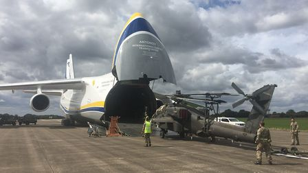 The huge Antonov plane flew in from the USA to deliver Apache helicopters Picture: GARETH PALMER