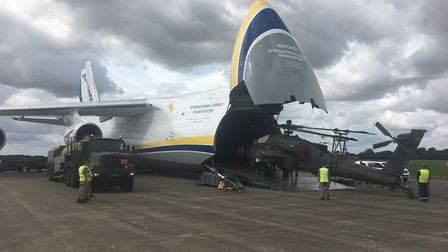 The Antonov delivered three Apache attack helicopters to Wattisham on Tuesday and Friday Picture: GA