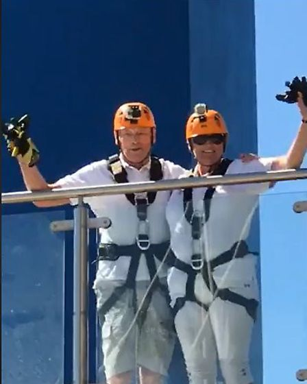 Trevor Root and Mandy Foster atop the Spinnaker Tower, in Portsmouth, prior to their abseil. Picture