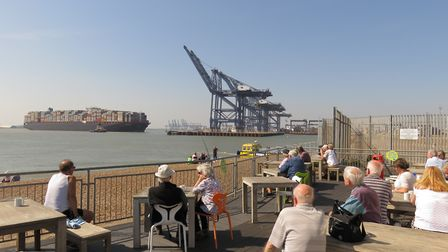 The viewing area at Felixstowe full of people watching a large container ship. Picture: JANICE POULS