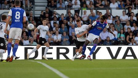 Trevoh Chalobah is off target early on at Derby Picture Pagepix