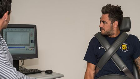 Davin Pack checks out some sports science at the University of Suffolk. Picture: PAVEL KRICKA