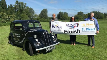 Pictured are Barry Dowman, of HS Direct; Sally Daniels, My WiSH Charity campaign manager; and Paul R