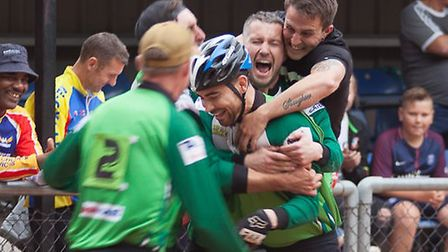 Great Blakenham riders mob Lewis Osborne after his title-winning heat to secure them the British Ope