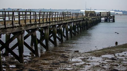 The pier is 600 foot long and was used to transport mail, munitions and sailors to HMS Ganges and is