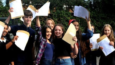 GCSE results day at St Benedict's Catholic School in Bury St Edmunds in 2017. Picture: ANDY ABBOTT