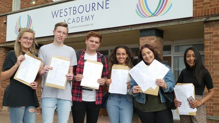 Students of Westbourne Academy after receiving their GCSE results in 2017. Picture: WESTBOURNE ACADE