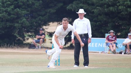 Mildenhall captain, Tom Rash, who took two early wickets after scoring 64 with the bat in the big wi