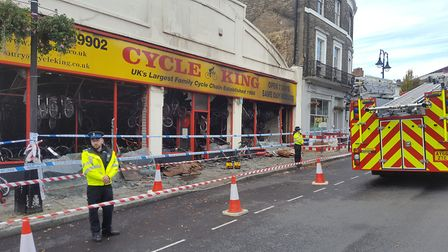 The Cycle King store on Angel Hill has been destroyed by fire. Picture: MATT STOTT