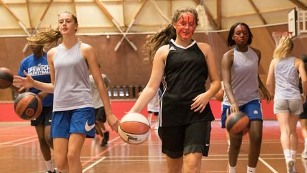 The skills challenge at Ipswich Basketball Club to raise funds for the club and Cancer Research. Pic
