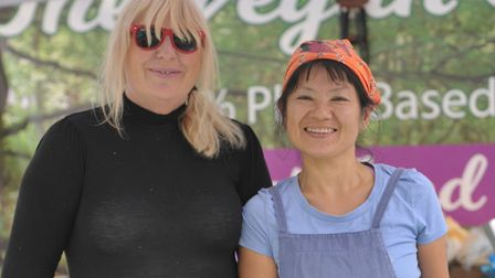 Jo Wite and Noriega Furuswa on the vegan food stall Picture: SARAH LUCY BROWN