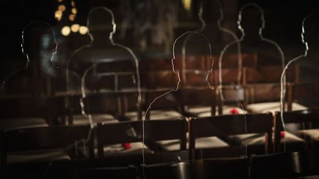 The silhouettes represents those who lost their lives in the First World War. Picture: MARTIN BARRAU