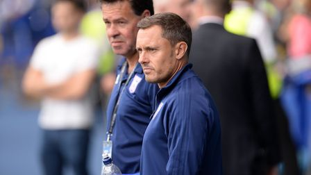 Ipswich Manager Paul Hurst watching the warm-up at Hillsborough Picture Pagepix