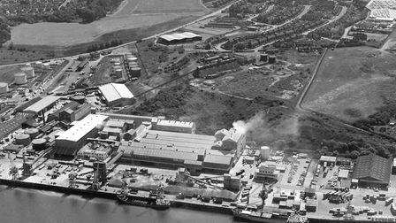 The Fisons site at Cliff Quay, Ipswich, in a photograph from the 1980s, sent by reader Joan Smith. L