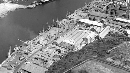 Fisons buildings at Cliff Quay, Ipswich, are the main feature of this view from the air in the 1980s