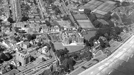 Fisons offices at Harvest House, Felixstowe, are in the centre of this 1975 photograph. Picture: JI