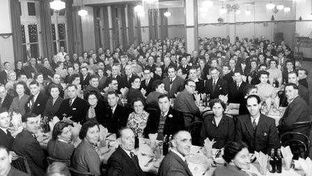 Fisons staff gathered at the Co-op Hall, Carr Street, Ipswich, in the 1950s for an annual dinner and