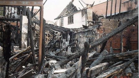 Janice Poulson's photograph of the fire damaged shops in the Buttermarket, Ipswich, in 1992.