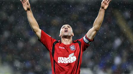 Jon Walters celebrates in the rain at Cardiff in 2009. Picture: PAGEPIX