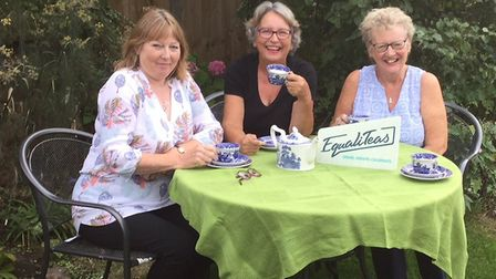 Women's Voices, Women's Votes members (l-r) Jean Driscol, Fiona Loader and Pauline Henry enjoying a