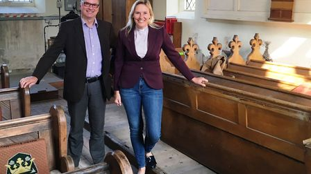 James Halsall and Rev Celia Cook in Little Bealings church. Picture: PAUL GEATER