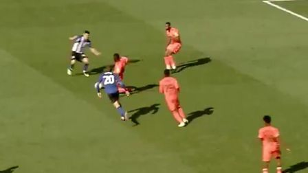 Toto Nsiala was sent off for this challenge on Fernando Forestieri.