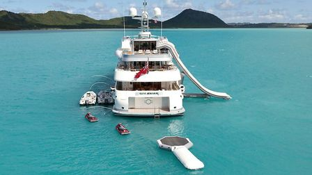 A yacht with a selection of SYTT toys. Picture: SYTT