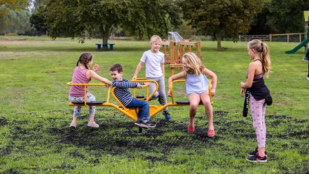 The children were said to 'absolutely love' the newly refurbished equipment Picture: DAVID CHIDLOW