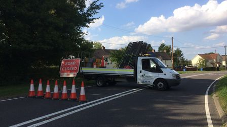 The A134 near Alpheton is closed in both directions and not due to reopen until later this evening.
