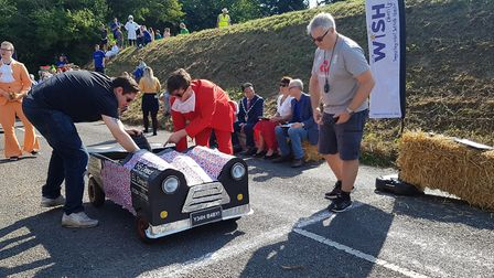 And they are off - one of the soap box derby karts gets ready to go Picture: RACHEL EDGE