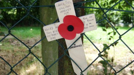 John Harvey left this cross near the site of his uncle's death on the 100th anniversary of the battl
