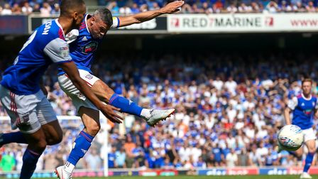 Jonathan Walters fires a shot against the post on his second debut for Ipswich Town. Photo: Steve Wa