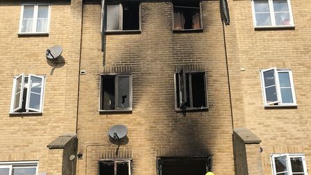 The four storey terrace was badly damaged by the fire Picture: SUFFOLK FIRE AND RESCUE