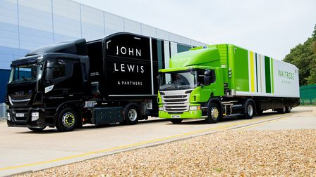 Waitrose and John Lewis lorries with all new branding at Magna Park, Milton Keynes with respectively