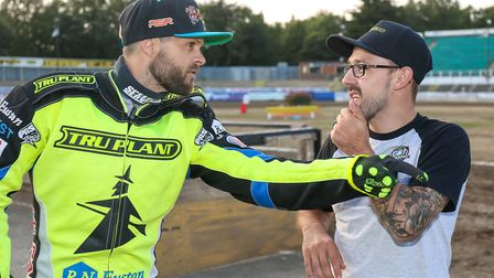 Danny King, right, fooling around with Rory Schlein. Both are sadly injured for the Witches.