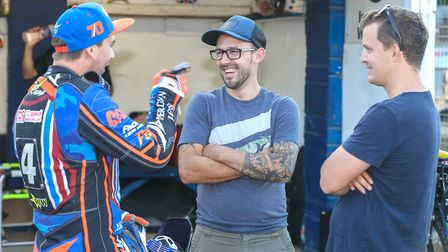 Former Witches Kyle Newman (left) and Morten Risager (right) with injured skipper Danny King. Pic