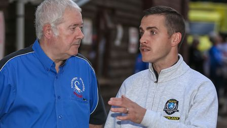 Scunthorpe team boss Dave Peet, left and Witches team manager Ritchie Hawkins, complete with moustac