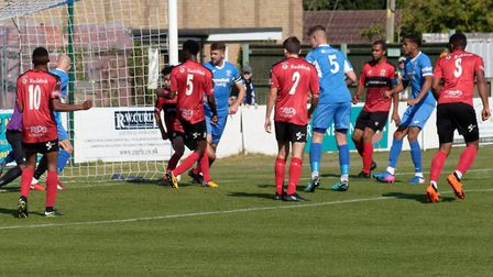 GOAL! Noel Aitkens (second from the right) puts Leiston ahead following a corner. Photo: PAUL VOLLER