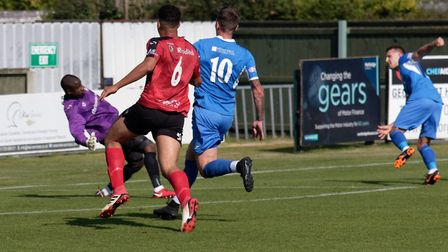 GOAL Jake Reed (far right) watches his shot beat Louis Connor for Leiston's third goal. Photo: PAUL