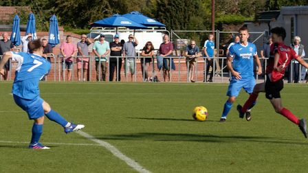 GOAL Byron Lawrence hits the winning goal for Leiston. Photo: PAUL VOLLER