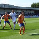 Dave Nieskens and Luke Allen in action for Braintree Town at Boreham Wood on Saturday. Picture: JON