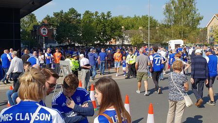 Crowds are building at Portman Road ahead of today's derby match Picture: ADAM HOWETT