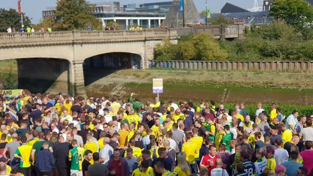 Norwich Fans at the Station Hotel in Ipswich Picture ADAM HOWLETT