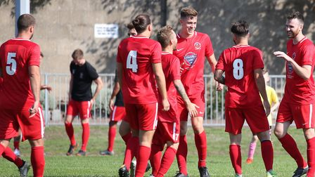 Stowmarket players celebrate a goal at Yarmouth Photo: STEVE WOOD
