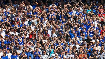 Town fans in great voice at Portman Road in the derby clash Picture: STEVE WALLER WWW.STEPHEN