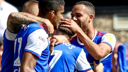 Town players celebrate Gwion Edwards' goal against Norwich. Photo: Steve Waller
