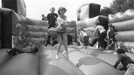 Fun on the bouncy castle at Martlesham Fete and Dog Show in 1982 Picture: ARCHANT