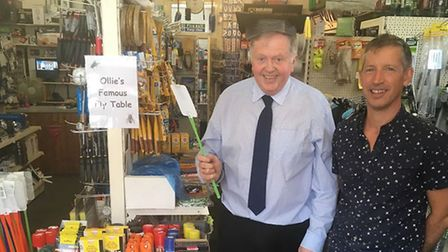 Shop manager Oliver Green and owner Bruce Salter at The Handyman in Eye have been creating hilarious