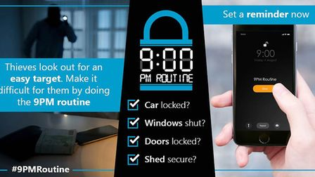 Some of the social media images for the #9PMRoutine campaign Picture: SUFFOLK CONSTABULARY