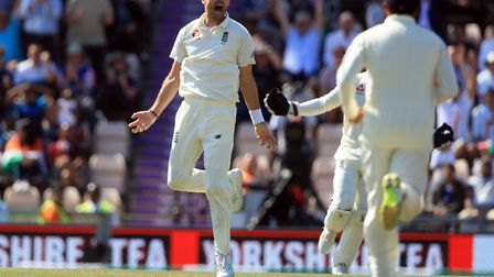 England's James Anderson celebrates taking a wicket during day four of the fourth test at the AGEAS